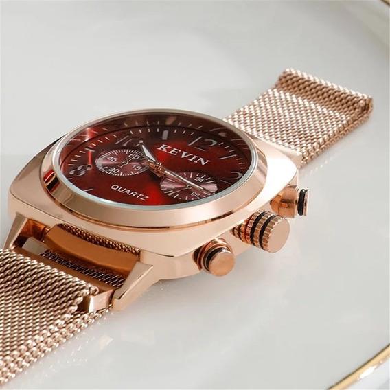 Relógio Feminino Magnético Dourado Inoxidável 12x S/juros