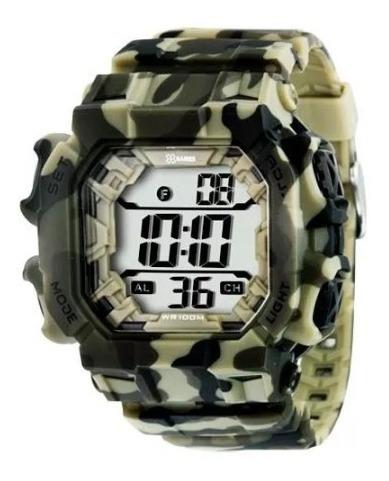 Relógio X-games Masculino Verde Camuflado Militar Xgppd085