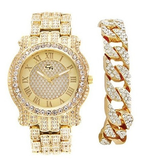 Reloj De Pulsera De Hip Hop Iced Out Gold Bling Luxurious Pa