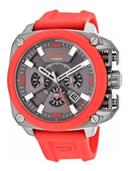 Relógio G89 Red Diesel Dz7368 Bamf Chronograph Gunmetal Top