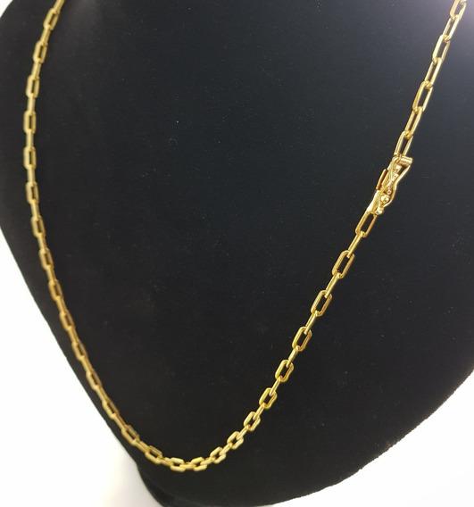 Cordão Cadeado Longo Fino Fecho Canhão Banhado Ouro 18k 70cm