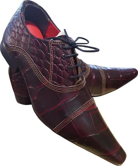 Sapato Masculino Em Couro De Jacare Vinho Ref: 645