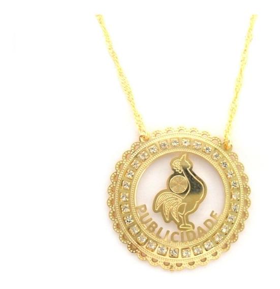Colar Profissão Medalha Strass Publicidade Folheado A Ouro
