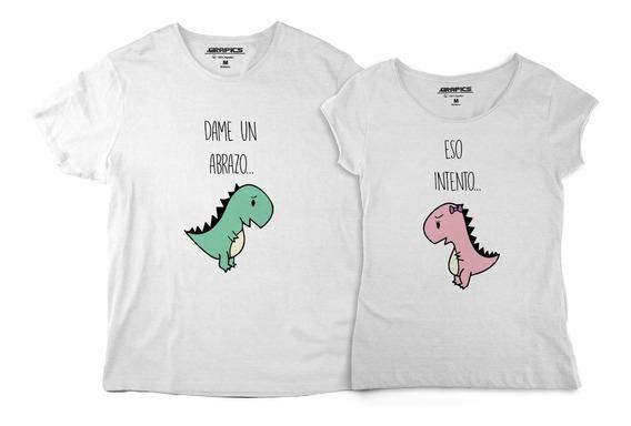 Playeras De Pareja Novios Dinosaurios Abrazo Camisetas Amor