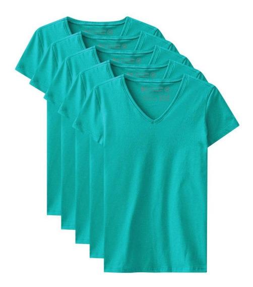 Kit De 5 Camisetas Babylook Básicas Gola V