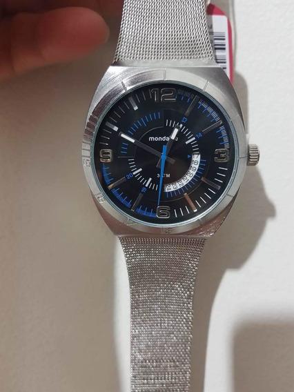 Relógio Analógico Masculino Mondaine Todo Em Aço Inoxidável