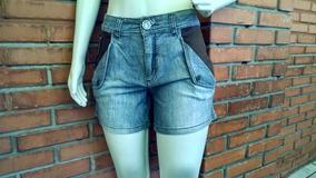 Shorts Cintura Alta Detalhe Couro 38