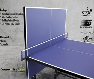 Mesa De Ping Pong Profesional + Kit Sunflex Red Paleta Balls