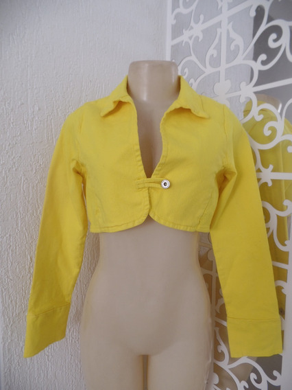 Casaco Jaqueta Jeans Amarelo