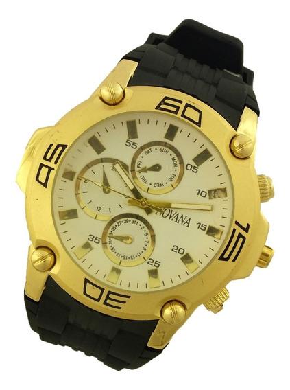Relógio De Pulso Masculino Novana Pulseira Em Borracha B5726