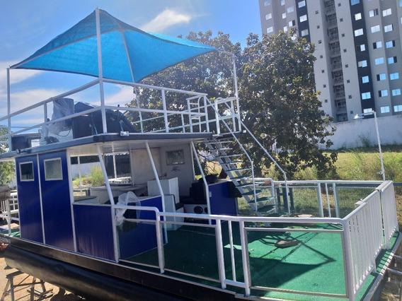 Embarcação Flutuante Para 20 Pessoas, Com Motor 60hp