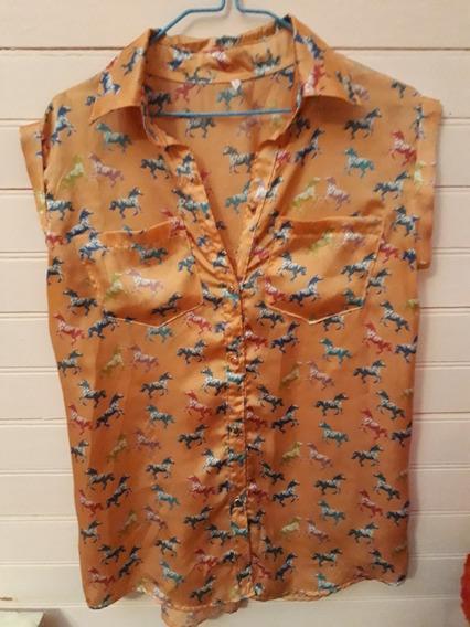 Camisa Rasada Color Coral Estampada Talle S