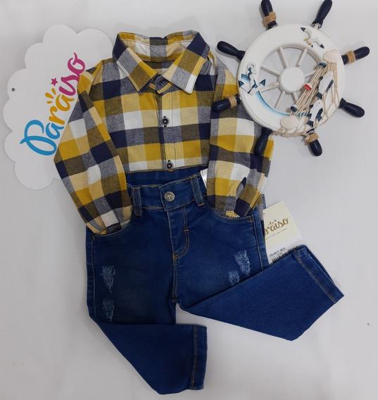 Conjunto Luxo Paraiso Bebe Menino Camisa + Jeans Cod 8020