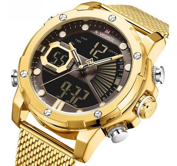 Relógio Masculino Naviforce 9172 Digital Analógico Dourado