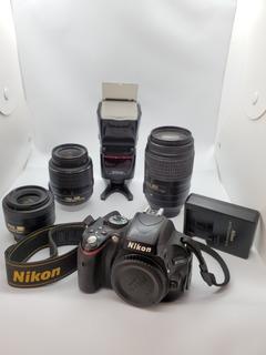 Cámara Nikon Profesional D5100 Con 3 Lentes Flash Y Tripié