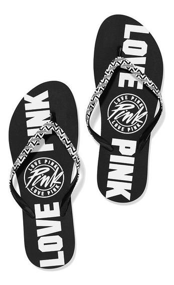 Ojotas Negro Y Blanco Logo Pink S 35-36 Victoria