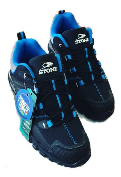 Zapatillas Stone Azul Negro Y Gris