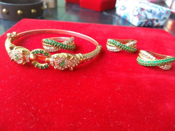 Conjunto Em Prata Banhados A Bronze, Esmeraldas Cz E Brancas