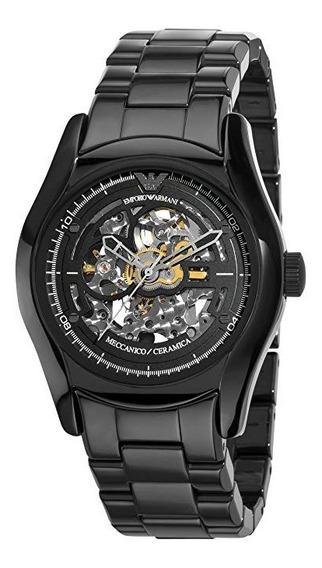 Relógio Emporio Armani Ar1414 Ceramic Black Skeleton Dial