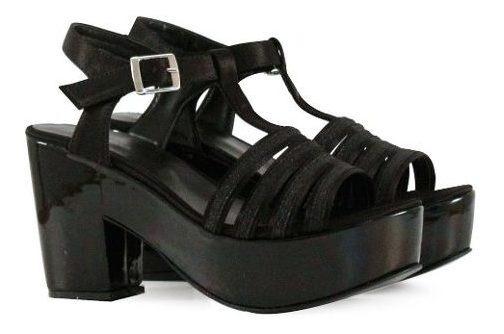Sandalias De Fiesta Forradas En Tela Negra De Mujer