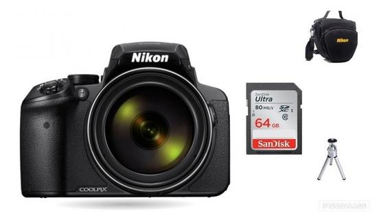Câmera Nikon Coolpix P900 +64gb+bolsa+tripé