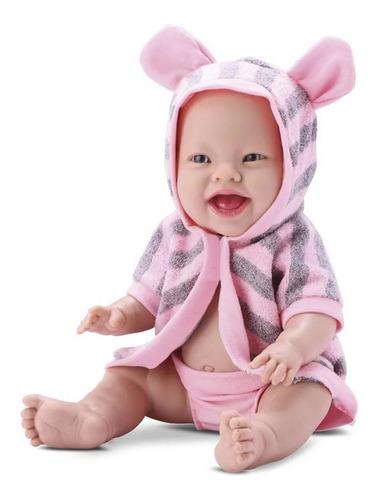 Imagem 1 de 2 de Boneca Baby Babilina Silicone Banho Com Roupão Orelhinha