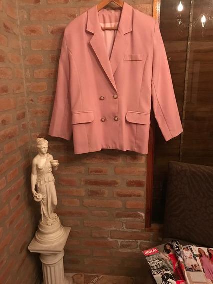 Saco Elegante Rosa Viejo Forrado Con Botones D Nacar !!