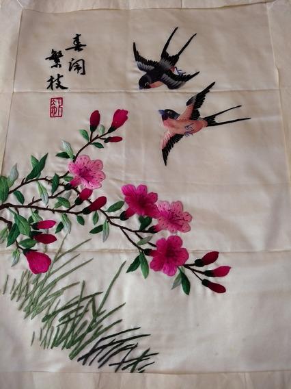 Bordado A Mano Sobre Seda Natural De Origen Chino Antiguo
