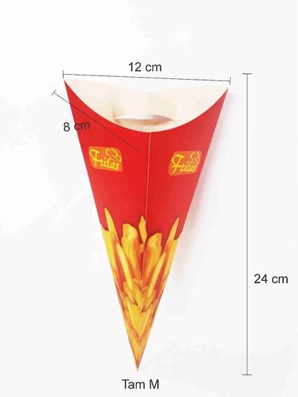 100 Unid Embalagem Caixa Cone Para Batata Frita Caixinha M