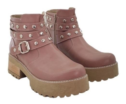 Zapato Borcego Con Cierre Y Tachas Base De Goma Alta Mujer
