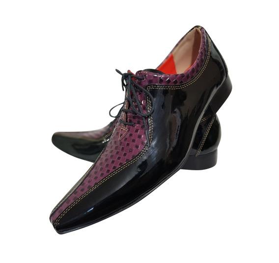 Sapato Masculino Em Couro Preto Verniz Com Lilas Ref: 707