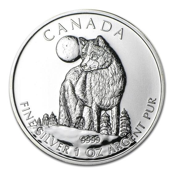 1 Onza De Plata Fina Fina/pura 9999 Canadá Wolf/lobo 2011 Sc