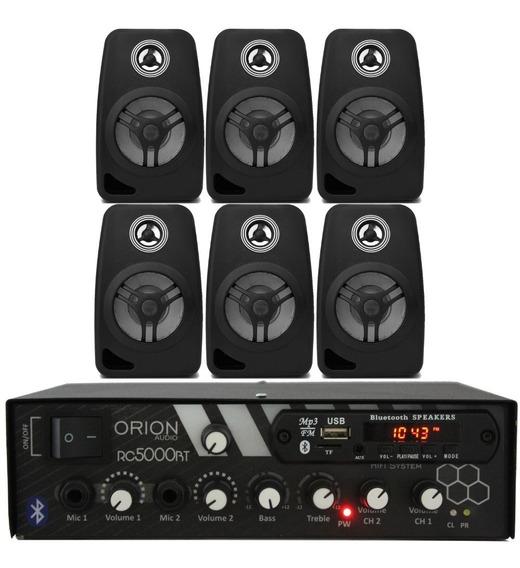 Kit Som Ambiente 300w Bluetooth + 6 Caixas Pretas+50mts Cabo