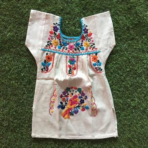 Imagem 1 de 2 de Vestido Mexicano Infantil Bebê T2 Bordado A Mão Original