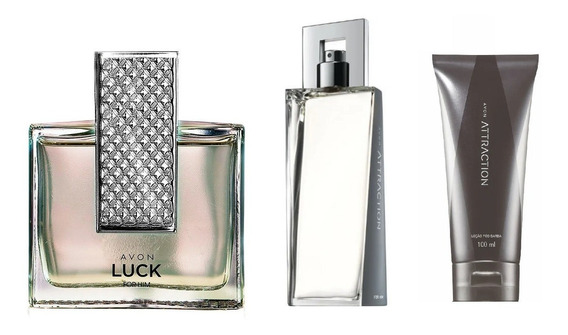 Combo Perfumes Masculinos Avon Luck For Him + Attraction For Him + Brinde
