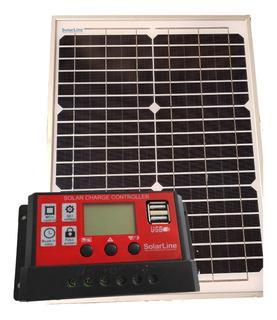 Cargador Batería 12v C/ Panel Solar 20w Y Regulador Solarlin