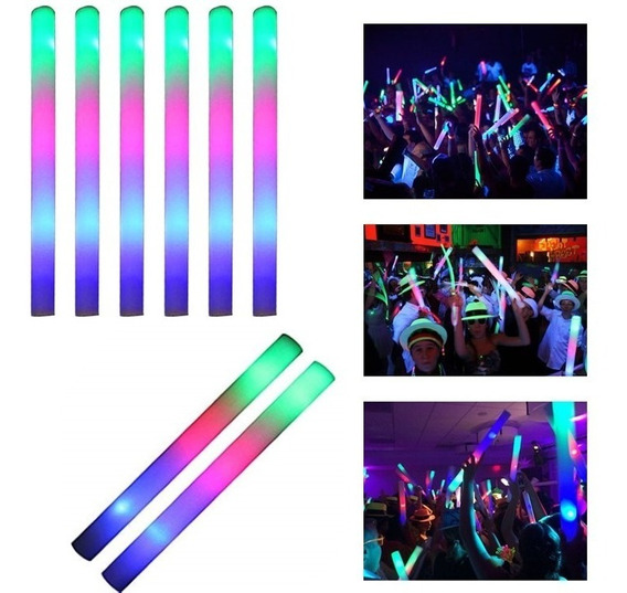 50 Rompecocos Led Barras Goma Espuma Luminosa Multicolor