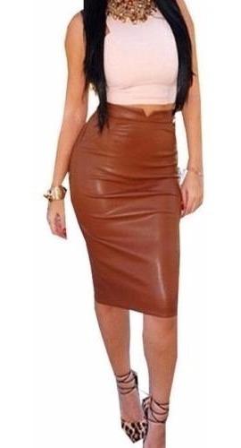 Falda Brown Sexy Cuero Pu Delgado Skirt Frilly Bandage Bodyc