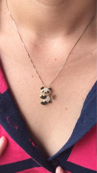 Pingente De Ouro 18k Panda Com Zirconia