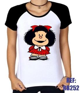Camiseta Raglan Baby Look Mafalda Hq Desenho