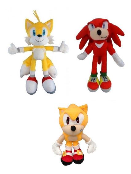 Kit 3 Pelúcias - Sonic Gold - Tails E Knucles