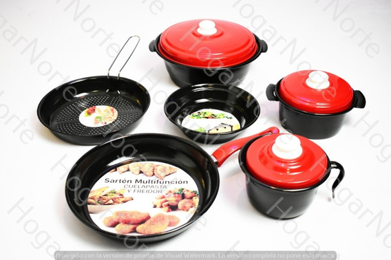 Juego Ollas Set Cocina 9 Piezas Sarten Vitrificado