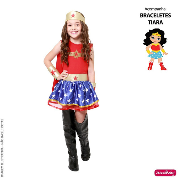 Fantasia Luxo Mulher Maravilha Infantil Capa Tiara Bracelete