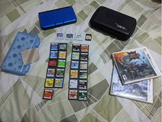 Nintendo 3ds Xl Desbloq. (64gb) + 26 Jogos Originais + Case
