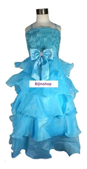 Vestido Infantil Festa Azul Longuette