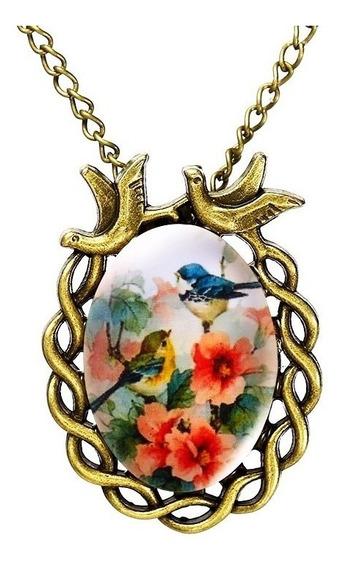 Colar Cabochão Boho Vitoriano Vintage Pássaro Flor Rosa