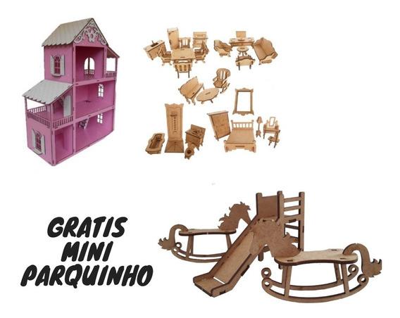 Casinha Boneca Polly/lol Casa Rosa+27moveis+kit Mini Parque