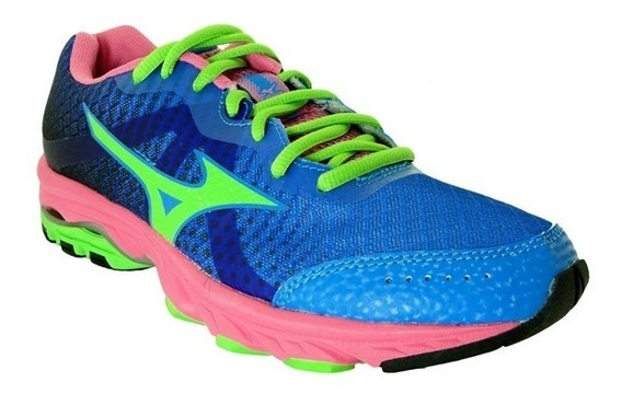 Tenis Mizuno Wave Elevation Azul Prata Rosa - Original De