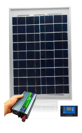 Placa Solar 30w Controlador Usb Inversor 1000w Cabo Montado