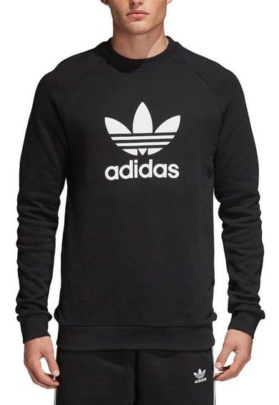 Buzo adidas Originals Moda Hombre Trefoil Crew Negro